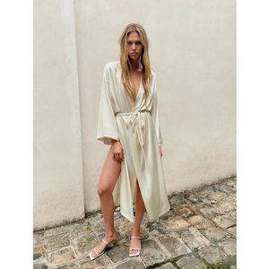 New Zara Mulberry Silk Long Belted White Robe M/L